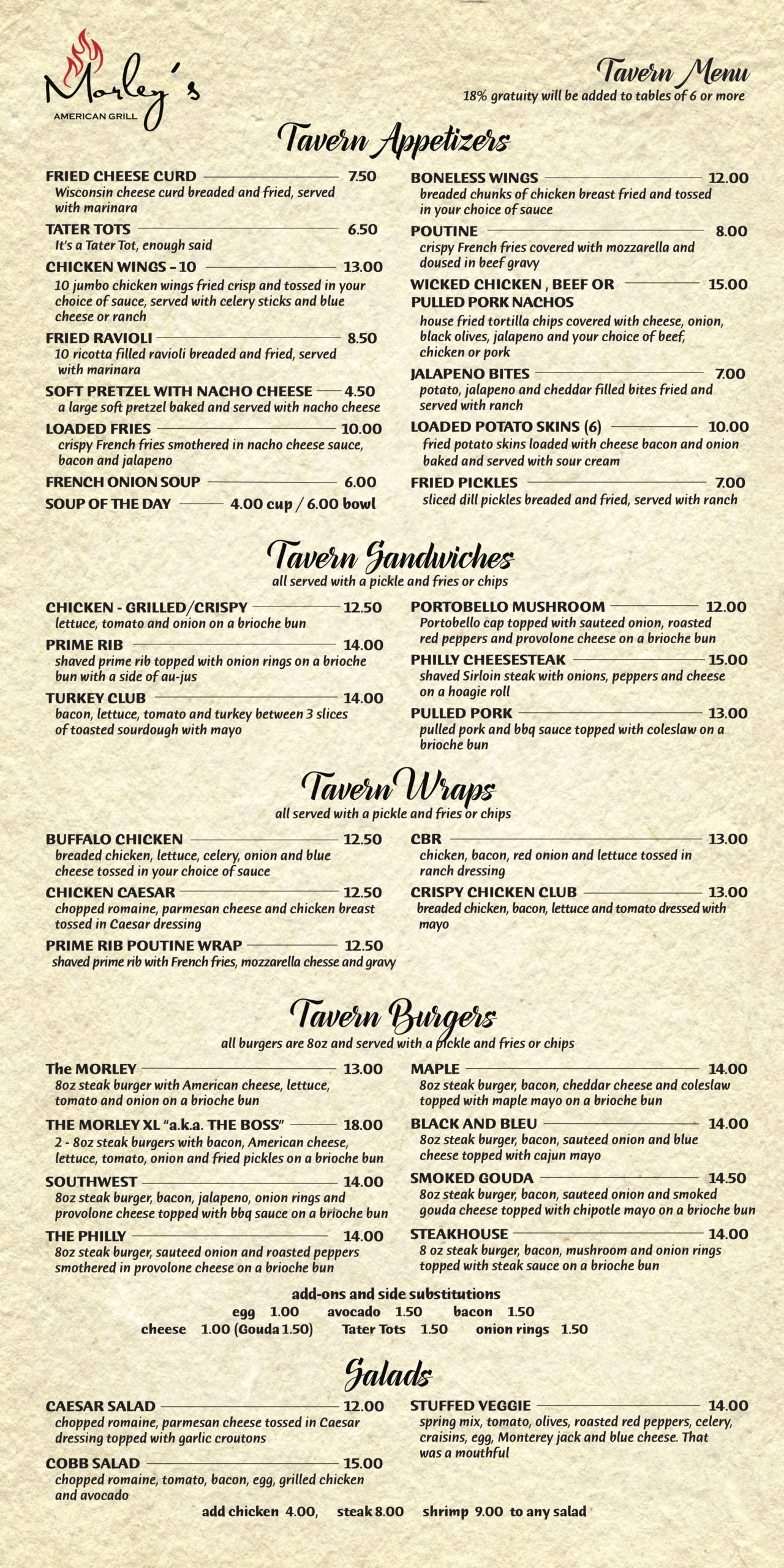 morleys tavern menu 10_14_20b